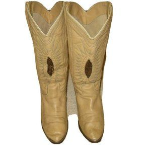 Vintage Acme Womens Tan Leather Snake Skin Cowboy